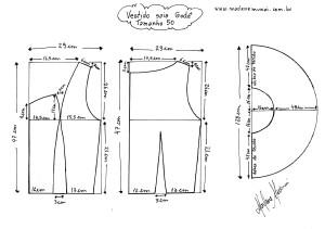 Molde do Vestido de Saia Godê tamanho 50.