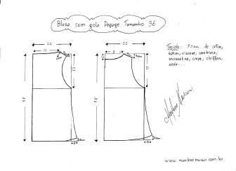 Esquema de modelagem de Blusa com gola Degagк tamanho 36.