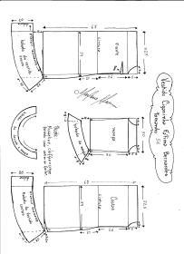 Esquema de modelagem de Vestido Ciganinha Fátima Bernardes tamanho 56.