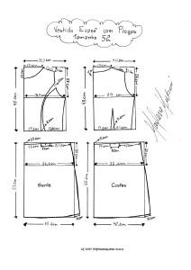 Molde de Vestido Evasê com Pregas tamanho 52.