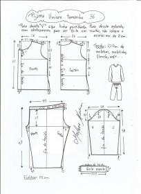 Esquema de modelagem de pijama unisex tamanho 36.