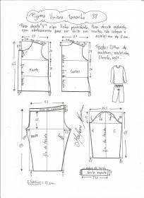 Esquema de modelagem de pijama unisex tamanho 38.