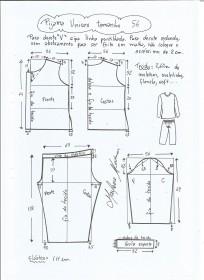 Esquema de modelagem de pijama unisex tamanho 56.