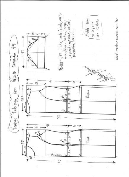 Esquema de modelagem de vestido tubinho com recorte tamanho 44.