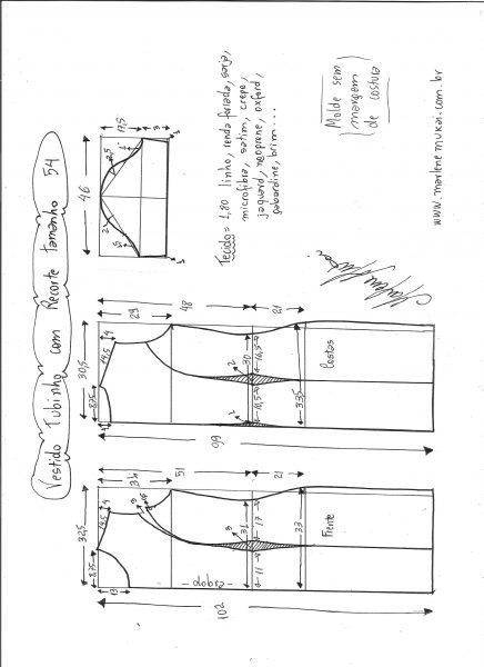 Esquema de modelagem de vestido tubinho com recorte tamanho 54.