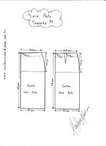 Esquema de modelagem de saia reta tamanho 38.