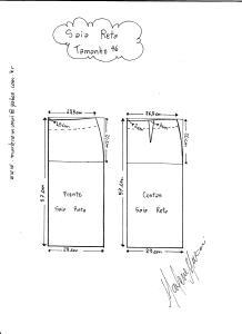 Esquema de modelagem de saia reta tamanho 46.