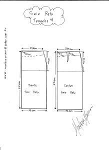 Esquema de modelagem de saia reta tamanho 48.