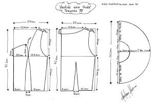 Molde do Vestido de Saia Godê tamanho 38.