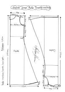 Esquema de Molde de Vestido de Malha tamanho EGG (54/56).