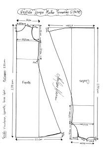 Esquema de Molde de Vestido de Malha tamanho G (46/48).