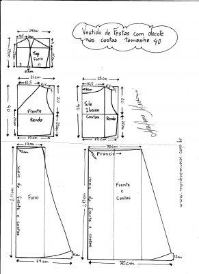 Esquema de modelagem de Vestido com decote nas costas tamanho 40.
