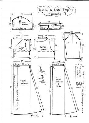 Esquema de modelagem de vestido de festa  império tamanho 44.