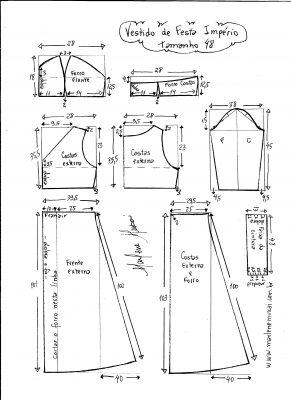 Esquema de modelagem de vestido de festa  império tamanho 48.