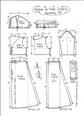 Esquema de modelagem de vestido de festa  império tamanho 56.
