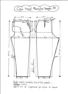 Esquema de modelagem de calça social masculina tamanho 50.