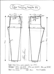 Esquema de modelagem de calça skinny tamanho 44.