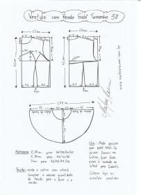 Esquema de modelagem de vestido com renda godê tamanho 38.