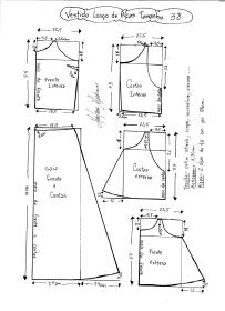 Esquema de modelagem de Vestido Longo com alça e babado tamanho 38.