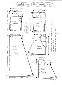Esquema de modelagem de Vestido Longo com alça e babado tamanho 44.