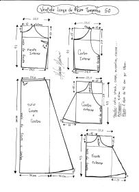 Esquema de modelagem de Vestido Longo com alça e babado tamanho 50.