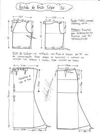 Esquema de modelagem de vestido de festa Tulipa tamanho 36.