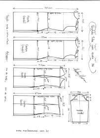 Esquema de modelagem de Vestido Tubinho com Renda e manga 3/4 tamanho 36.