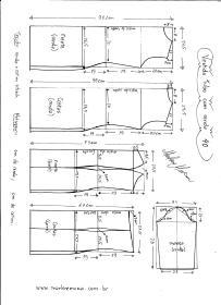 Esquema de modelagem de Vestido Tubinho com Renda e manga 3/4 tamanho 40.