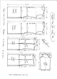 Esquema de modelagem de Vestido Tubinho com Renda e manga 3/4 tamanho 44.