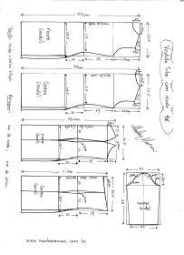 Esquema de modelagem de Vestido Tubinho com Renda e manga 3/4 tamanho 46.