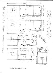 Esquema de modelagem de Vestido Tubinho com Renda e manga 3/4 tamanho 50.