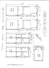 Esquema de modelagem de Vestido Tubinho com Renda e manga 3/4 tamanho 52.