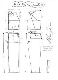 Esquema de modelagem do Macacão Maria Clara tamanho 36.