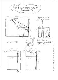 Esquema de modelagem de Vestido com decote Cruzado tamanho 56.