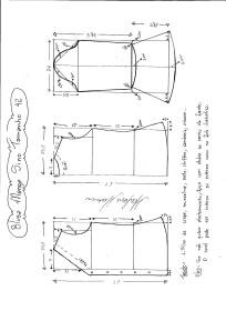 Esquema de modelagem de Blusa com Manga Sino tamanho 42.