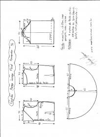 Esquema de modelagem de vestido de manga longa tamanho 56.