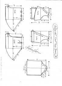 Esquema de modelagem de Macaquinho com short saia godê tamanho 38.