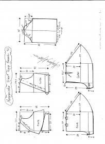Esquema de modelagem de Macaquinho com short saia godê tamanho 42.