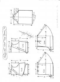 Esquema de modelagem de Macaquinho com short saia godê tamanho 44.