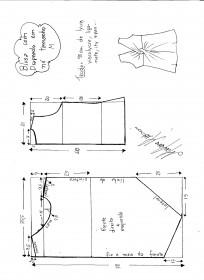 Esquema de modelagem de blusa drapeada com nó tamanho M.