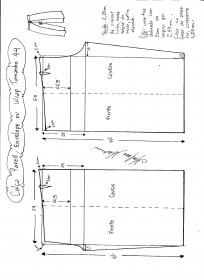 Esquema de modelagem de Calça Pareô, Wrap ou Envelope tamanho 44.