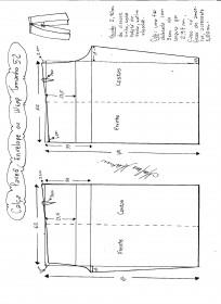 Esquema de modelagem de Calça Pareô, Wrap ou Envelope tamanho 52.