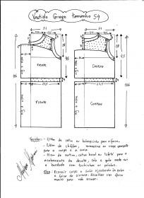 Esquema de vestido de festa estilo grego tamanho 54.