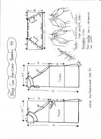 Esquema de modelagem de Blusa com cava americana e drapeado solto tamanho 44.