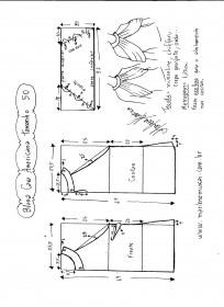 Esquema de modelagem de Blusa com cava americana e drapeado solto tamanho 50