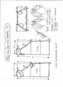 Esquema de modelagem de Blusa com cava americana e drapeado solto tamanho 52.