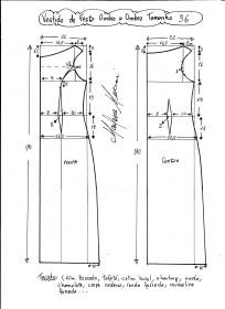 Esquema de modelagem de vestido de festa ombro a ombro tamanho 36.