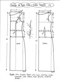 Esquema de modelagem de vestido de festa ombro a ombro tamanho 54.