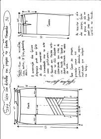 Esquema de modelagem da saia lápis com pregas na frente 36.