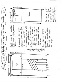 Esquema de modelagem da saia lápis com pregas na frente 38.